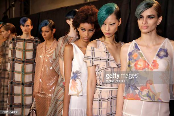A model backstage at the Fendi Ready to Wear Spring/Summer 2018 fashion show during Milan Fashion Week Spring/Summer 2018 on September 21 2017 in...