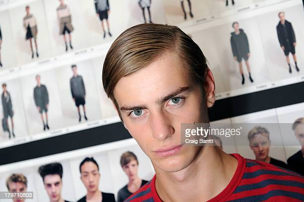 A model backstage at the General Idea fashion show during MercedesBenz Fashion Week Spring 2014 at the Classic Car Club on September 6 2013 in New...