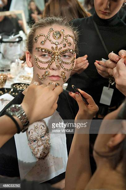 A model backstage at the Givenchy fashion show during the Spring Summer 2016 New York Fashion Week on September 11 2015 in New York City