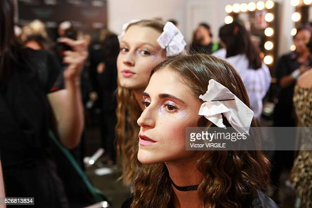 A model backstage at the Helo Rocha fashion show during the Sao Paulo Fashion Week Spring/Summer 20162017 on April 28 2016 in Sao Paulo Brazil