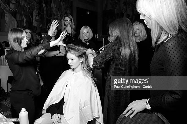 Model backstage at the Kristian Aadnevik Autumn Winter fashion show during London Fashion Week AW 2016 The Royal Horseguards London 21 February 2016...