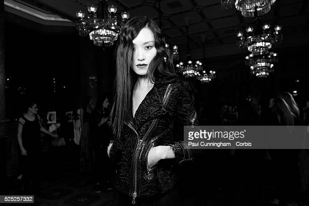 Model backstage at the Kristian Aadnevik Autumn Winter fashion show during London Fashion Week AW 2015 The Royal Horseguards London 22 February 2015...
