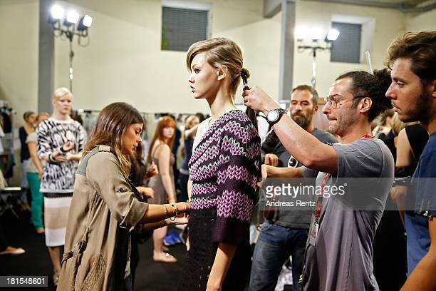 A model backstage at the Missoni show as part of Milan Fashion Week Womenswear Spring/Summer 2014 at on September 22 2013 in Milan Italy