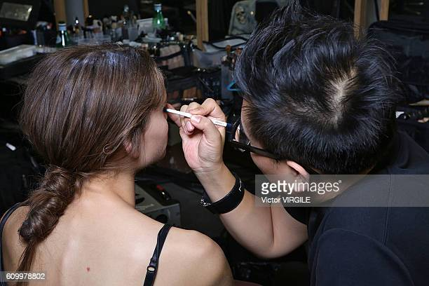 A model backstage at the N21 show during Milan Fashion Week Spring/Summer 2017 on September 21 2016 in Milan Italy