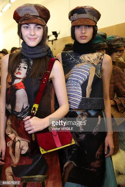 A model backstage at the Prada Ready to Wear fashion show during Milan Fashion Week Fall/Winter 2017/18 on February 23 2017 in Milan Italy