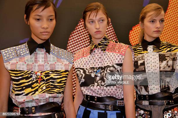 A model backstage at the Prada Ready to Wear Spring/Summer 2018 fashion show during Milan Fashion Week Spring/Summer 2018 on September 21 2017 in...