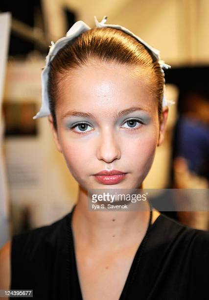 Model backstage at the Rebecca Taylor Spring 2012 fashion show during Mercedes-Benz Fashion Week at The Stage at Lincoln Center on September 9, 2011...