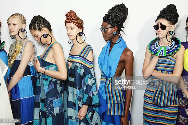 A model backstage at the Ronaldo Fraga fashion show during the Sao Paulo Fashion Week Spring/Summer 20162017 on April 25 2016 in Sao Paulo Brazil