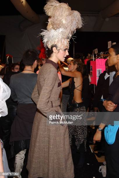 Model backstage at the Sass and Bide Fashion Show at Studio Noir Bryant Park on February 7 2004 in New York City