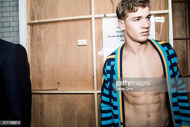 Model backstage at the Sibling show during The London Collections Men SS16 at Victoria House on June 13 2015 in London England