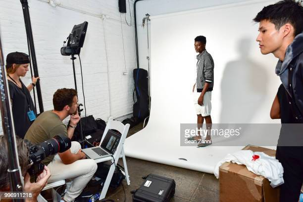 A model backstage at the Todd Snyder S/S 2019 Collection during NYFW Men's July 2018 at Industria Studios on July 11 2018 in New York City