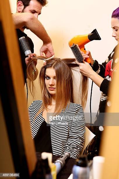 Model backstage at the Trussardi Jeans FW 15/16 Fashion Show at Laboratori Ansaldo Scala on November 17 2014 in Milan Italy