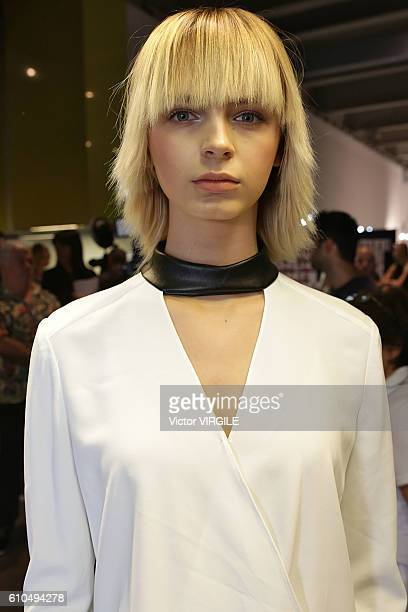 A model backstage at the Versace Ready to Wear show during Milan Fashion Week Spring/Summer 2017 on September 23 2016 in Milan Italy