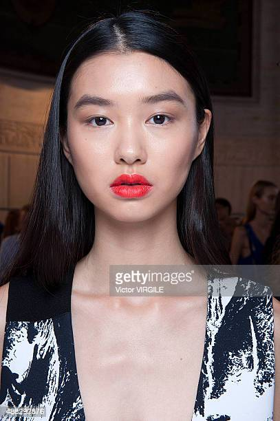 A model backstage at the Victoria Beckham Spring Summer 2016 fashion show during the New York Fashion Week on September 13 2015 in New York City