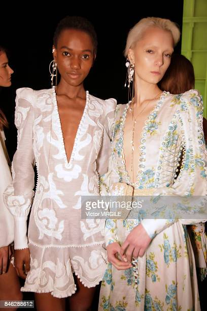 A model backstage at the Zimmermann Ready to Wear Spring/Summer 2018 fashion show during New York Fashion Week on September 11 2017 in New York City