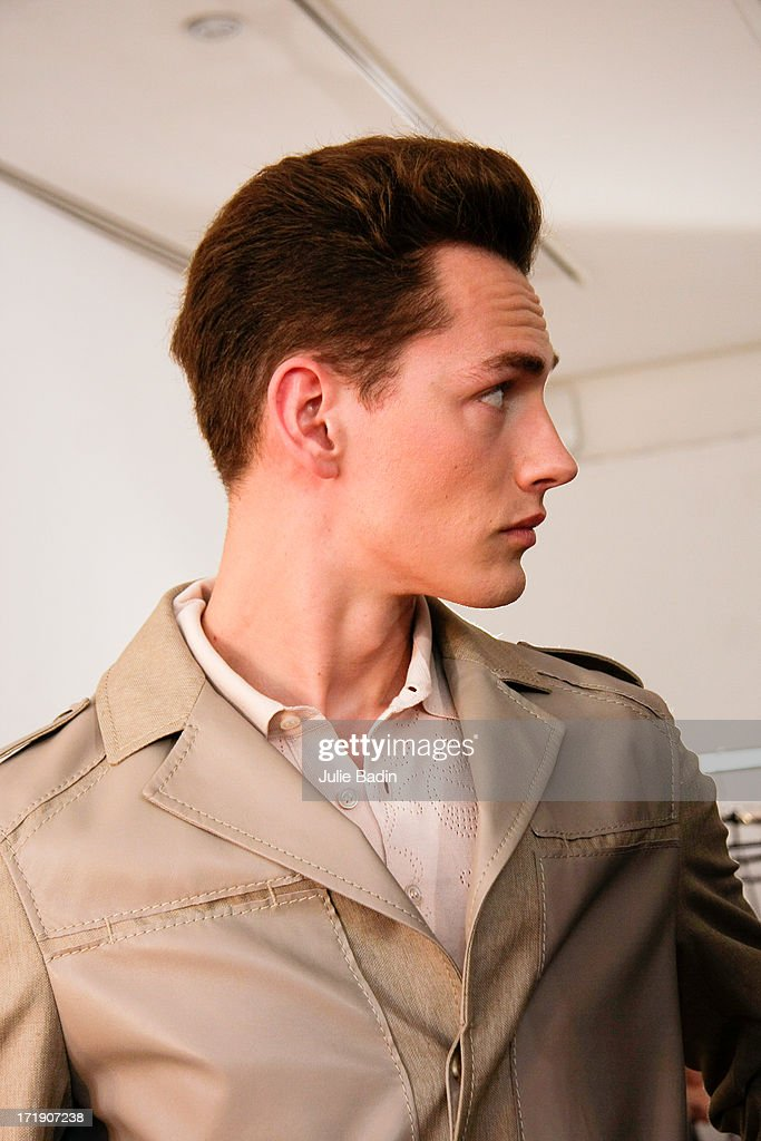 A model backstage before the Francesco Smalto Menswear Spring/Summer 2014 Show As Part Of The Paris Fashion Week on June 29, 2013 in Paris, France.