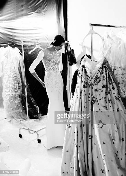 A model backstage before the George Hobeika show as part of Paris Fashion Week Haute Couture Fall/Winter 2015/2016 at Palais De Tokyo on July 6 2015...