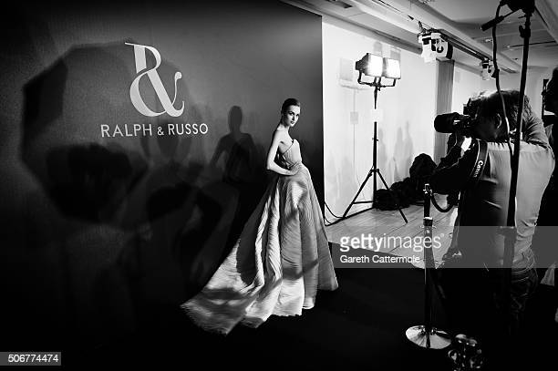 A model backstage before the Ralph Russo Spring Summer 2016 show as part of Paris Fashion Week on January 25 2016 in Paris France