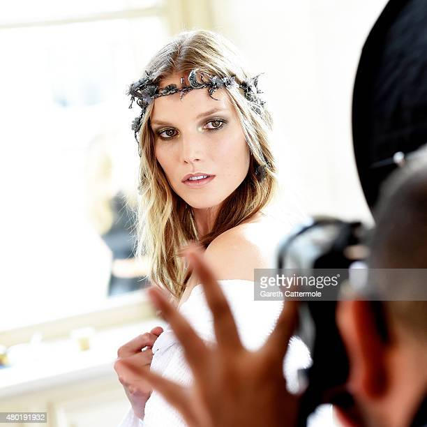 A model backstage before the Versace show as part of Paris Fashion Week HauteCouture Fall/Winter 2015/2016 on July 5 2015 in Paris France