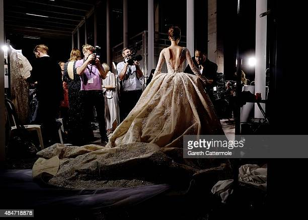 A model backstage before the Zuhair Murad show as part of Paris Fashion Week Haute Couture Fall/Winter 2015/2016 at Palais de Tokyo on July 9 2015 in...
