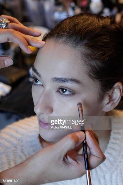 A model backstage during Animale fashion show as part of Sao Paulo N44 Fashion Week Spring/Summer 2018 on August 30 2017 in Sao Paulo Brazil