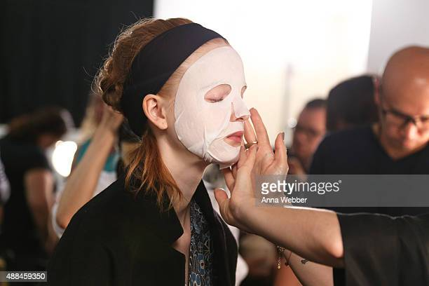 A model backstage during Dr Jart for SUNO Spring/Summer 2015 Fashion Show at The Gallery at Skylight Clarkson Sq on September 16 2015 in New York City