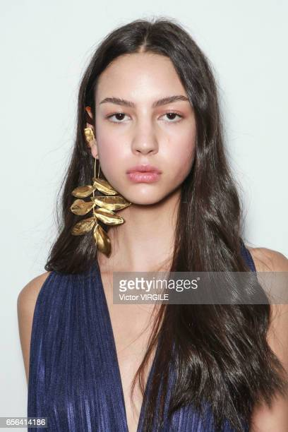 A model backstage during Fabiana Milazzo fashion show as part of Sao Paulo Fashion Week Summer 2017 on March 15 2017 in Sao Paulo Brazil