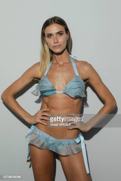 A model backstage during the Agua de Coco fashion show during Sao Paulo Fashion Week N46 Fall/Winter 2019 on October 26 2018 in Sao Paulo Brazil