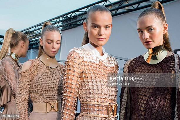A model backstage during the Balmain Ready to Wear show as part of the Paris Fashion Week Womenswear Spring/Summer 2016 on October 1 2015 in Paris...