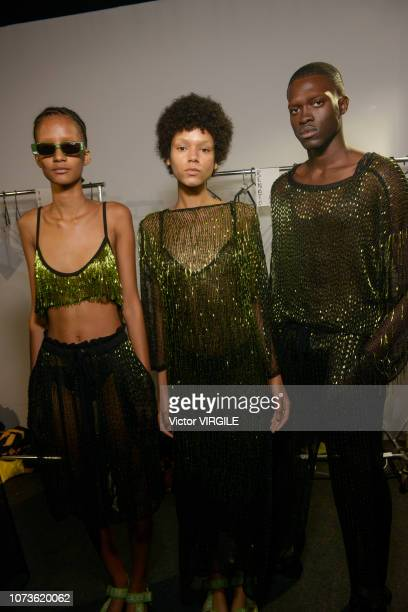 A model backstage during the Cacete Company fashion show during Sao Paulo Fashion Week N46 Fall/Winter 2019 on October 26 2018 in Sao Paulo Brazil