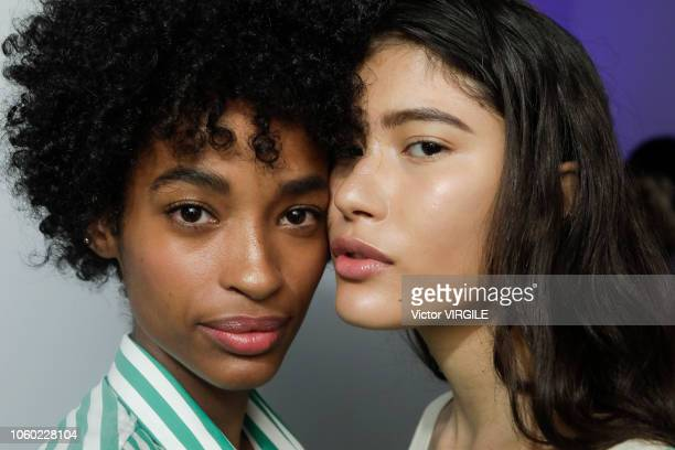 A model backstage during the Cotton Project fashion show during Sao Paulo Fashion Week N46 Fall/Winter 2019 on October 25 2018 in Sao Paulo Brazil
