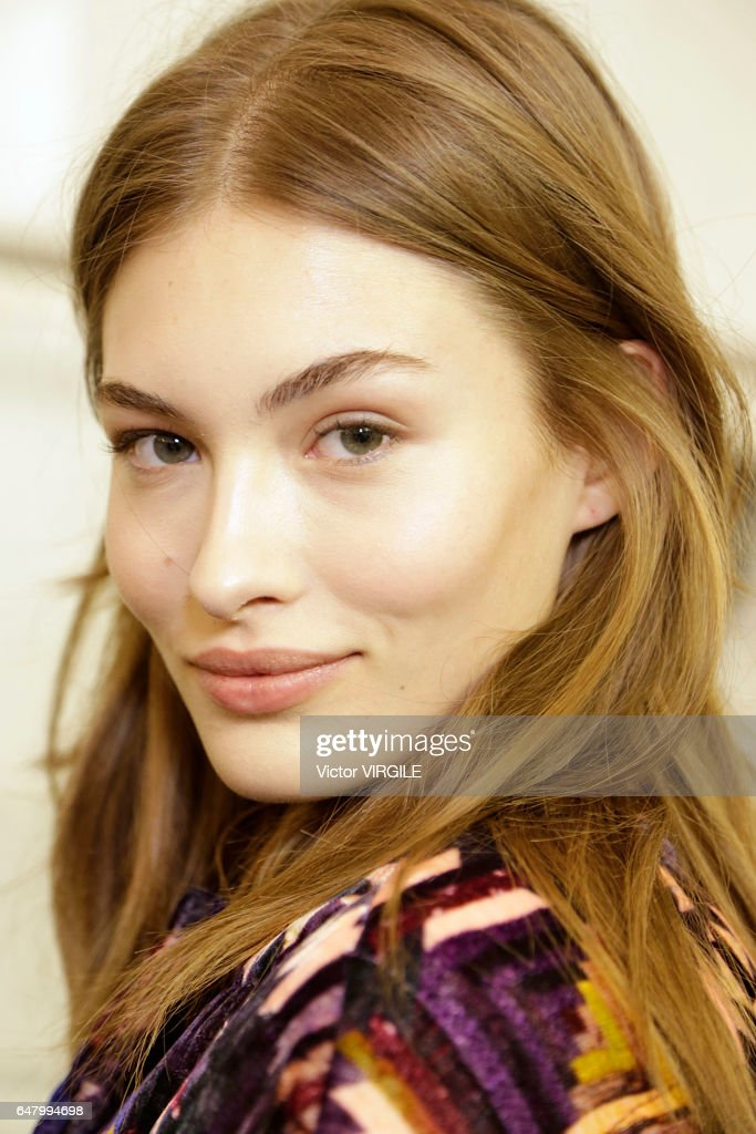 A model backstage during the Isabel Marant Ready to Wear fasshion show as part of the Paris Fashion Week Womenswear Fall/Winter 2017/2018 on March 2, 2017 in Paris, France.