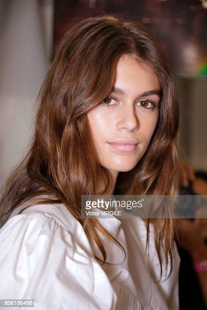 A model backstage during the Isabel Marant Ready to Wear Spring/Summer 2018 fashion show as part of the Paris Fashion Week Womenswear Spring/Summer...