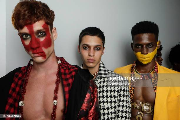 A model backstage during the Joao Pimenta Masculino fashion show during Sao Paulo Fashion Week N46 Fall/Winter 2019 on October 26 2018 in Sao Paulo...