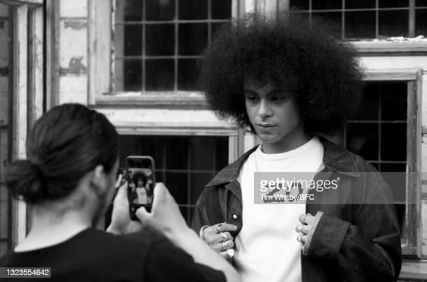 Model backstage during The London Seven Collective, LCF Graduate Screening during London Fashion Week June 2021 on June 14, 2021 in London, England.