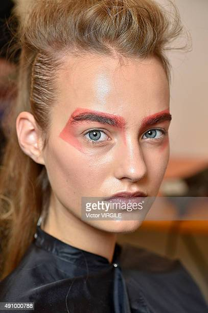 A model backstage during the Max Mara Ready to Wear fashion show as part of Milan Fashion Week Spring/Summer 2016 on September 24 2015 in Milan Italy