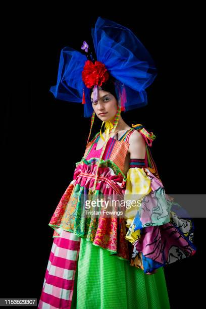 A model backstage during the Nottingham Trent University show at Graduate Fashion Week at The Truman Brewery on June 03 2019 in London England