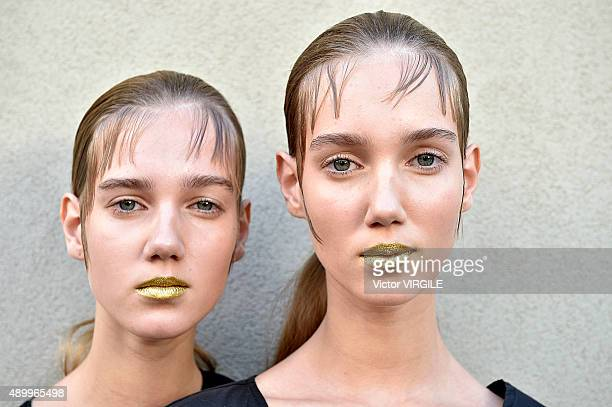 A model backstage during the Prada Ready to Wear fashion show as part of Milan Fashion Week Spring/Summer 2016 on September 24 2015 in Milan Italy