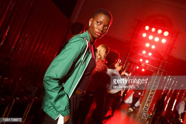 A model backstage during the rehearsal of the palmer//harding ** show during London Fashion Week September 2018 at Goodenough College Mecklenburgh...