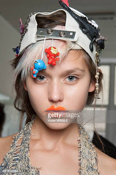 A model backstage during the Vivienne Westwood Ready to Wear show as part of the Paris Fashion Week Womenswear Spring/Summer 2016 on October 3 2015...