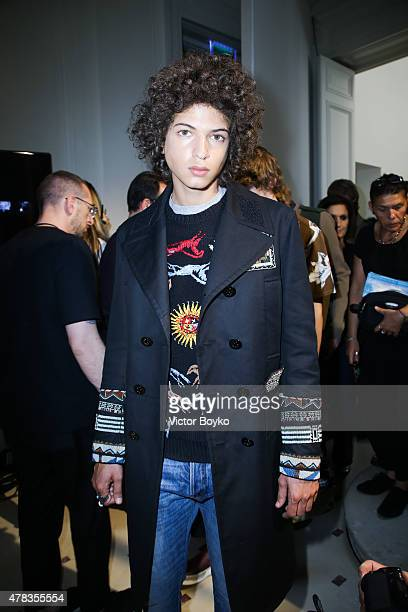 A model backstage in a lineup during the Valentino Menswear Spring/Summer 2016 show as part of Paris Fashion Week on June 24 2015 in Paris France