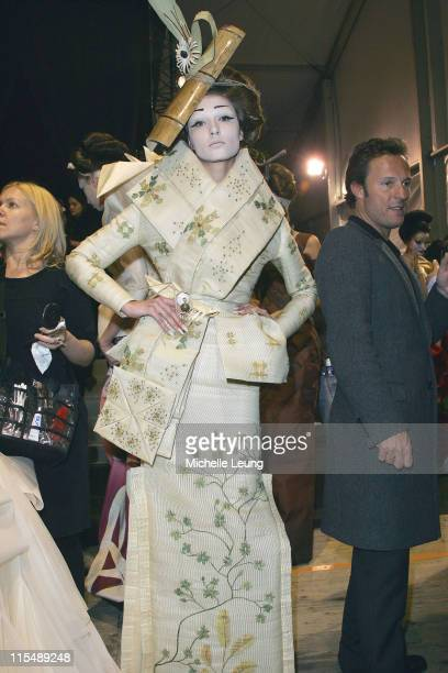 Model backstage wearing Christian Dior Spring/Summer 2007