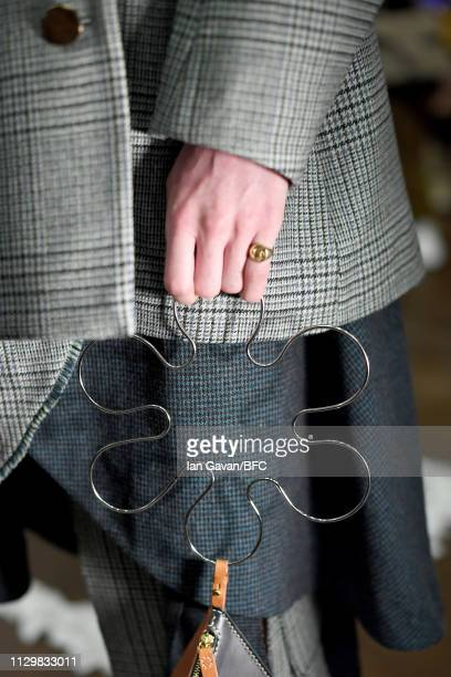 A model bag detail at the Gayeon Lee Presentation during London Fashion Week February 2019 on February 15 2019 in London England