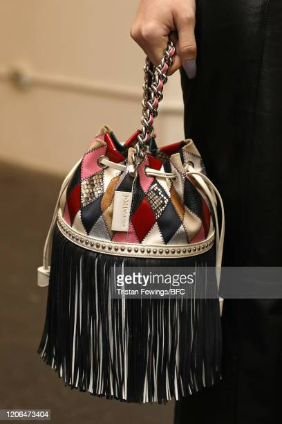 A model bag detail at the Mimi Wade show during London Fashion Week February 2020 on February 15 2020 in London England