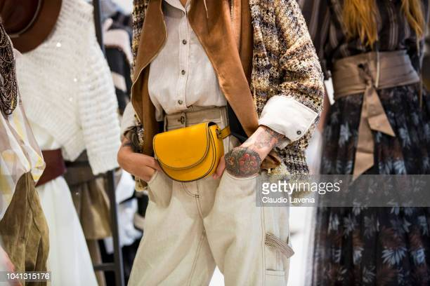 A model bag detail is seen at the Brunello Cucinelli presentation during Milan Fashion Week Spring/Summer 2019 on September 19 2018 in Milan Italy