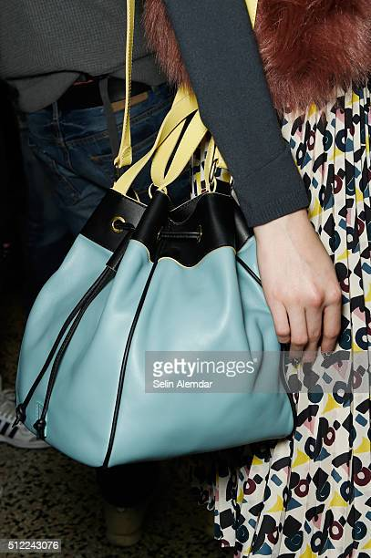 A model bag detail is seen backstage ahead of the I'M Isola Marras show during Milan Fashion Week Fall/Winter 2016/17 on February 25 2016 in Milan...