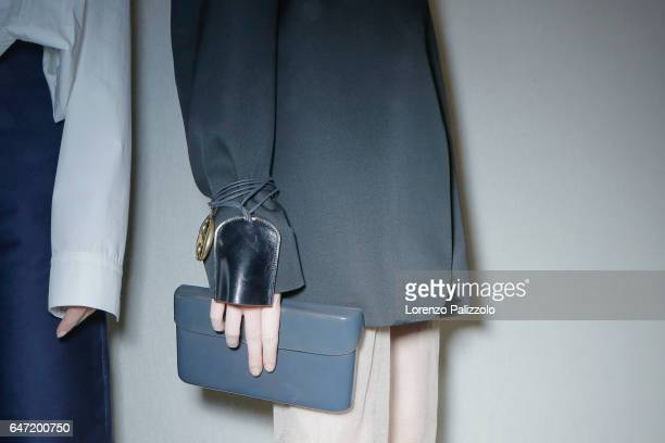A model bag detail is seen backstage before the Lemaire show as part of the Paris Fashion Week Womenswear Fall/Winter 2017/2018 on March 1 2017 in...