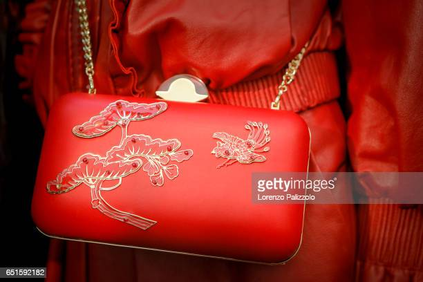 Model, bag detail, is seen backstage before the Shiatzy Chen show as part of the Paris Fashion Week Womenswear Fall/Winter 2017/2018 on March 7, 2017...