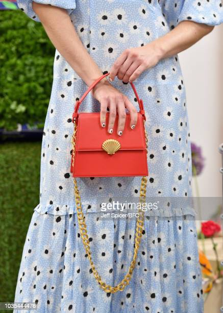 Model, bag detail, poses at the RIXO presentation at BFC Show Space during London Fashion Week September 2018 on September 18, 2018 in London,...