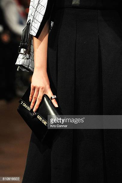 A model bag detail walks the runway at 7Crash show during Art Hearts Fashion NYFW Fall/Winter 2016 at The Angel Orensanz Foundation on February 17...